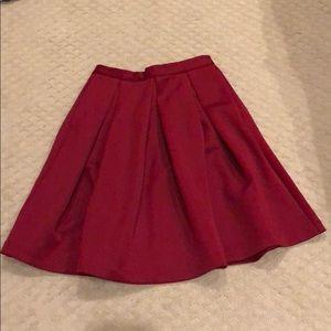 Dark Red Pleated Skirt